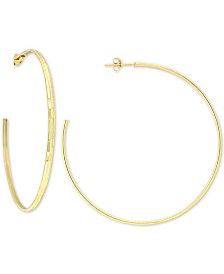 Giani Bernini Diamond-Cut C-Hoop Earrings in 18k Gold-Plate Over Sterling Silver, Created for Macy's
