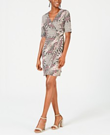 Connected Petite Medallion-Print Wrap Dress
