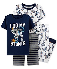 Little & Big Boys 4-Pc. Motorcylce Stunts Cotton Pajama Set