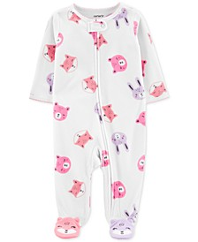 Baby Girls Animal-Print Footed Coverall