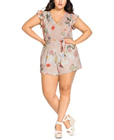City Chic Trendy Plus Size Summer Rose Romper