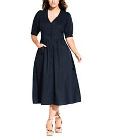 City Chic Trendy Plus Size Button-Down Midi Dress
