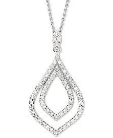 """Giani Bernini Sterling Silver Teardrop 18"""" Pendant Necklace, Created for Macy's"""
