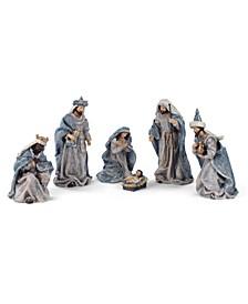 Vintage Blue Nativity - Set of 6