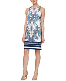 SL Fashions Sleeveless Printed Shift Dress