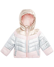 Baby Girls Hooded Colorblocked Puffer Jacket