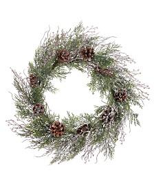 Napco Iced Cedar Cone Wreath