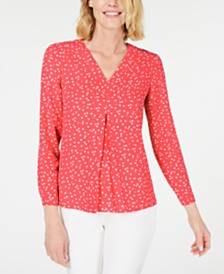 Anne Klein Printed Inverted-Pleat Blouse