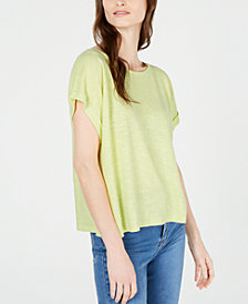 Eileen Fisher Ballet-Neck Short-Sleeve Organic Top, Regular & Petite