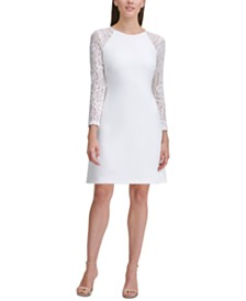 Tommy Hilfiger Petite Lace-Sleeve A-Line Dress