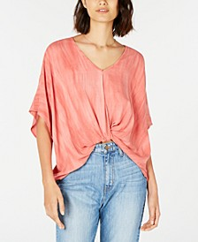 Juniors' Knot-Front Dolman-Sleeved Blouse
