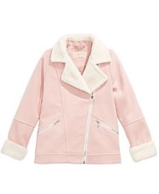 Big Girls Faux-Fur-Trim Aviator Jacket