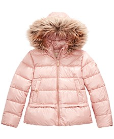 Big Girls Faux-Fur-Trim Hooded Puffer Jacket