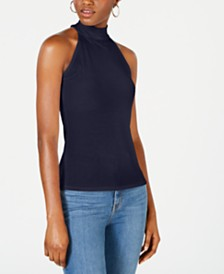 Bar III Mock Neck Ribbed Tank Top, Created for Macy's