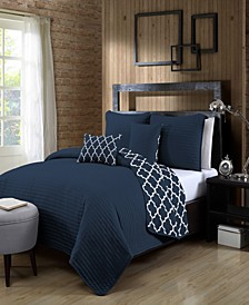 Griffin 5-Pc. King Solid with Quatrafoil Reversible Quilt Set