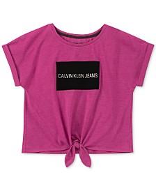 Calvin Klein Big Girls Logo-Print Tie-Front T-Shirt