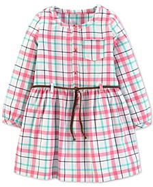 Toddler Girls Plaid Twill Shirtdress