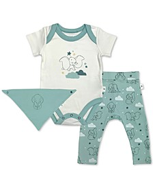 Baby Boys 3-Pc. Cotton Dumbo Bib, Bodysuit & Pants Set