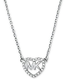 "Sterling Silver Crystal Heart Logo Pendant Necklace, 16"" + 2"" extender"