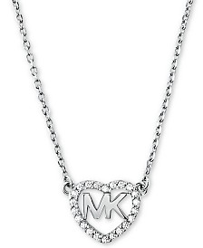 "Michael Kors Sterling Silver Crystal Heart Logo Pendant Necklace, 16"" + 2"" extender"