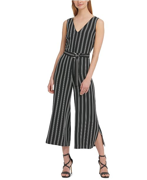 DKNY Striped Cropped Jumpsuit