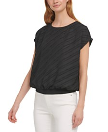 DKNY Asymmetrical-Stripe Top