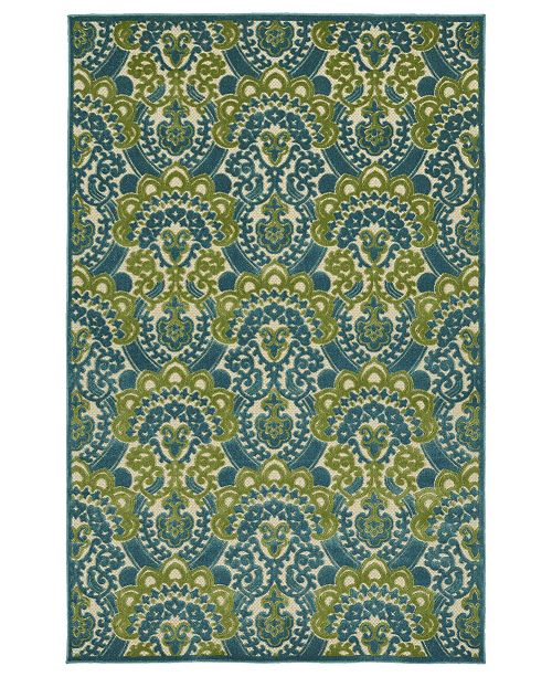 "Kaleen A Breath of Fresh Air FSR107-17 Blue 2'1"" x 4' Area Rug"