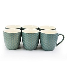 Honeycomb 6 Piece 15 Ounce Mug Set, in Turquoise