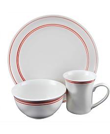 Porto 12 Piece Fine Banded Dinnerware Set