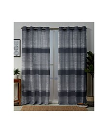 "Exclusive Home Kadomo Striped Grommet Top 54"" X 84"" Curtain Panel Pair"