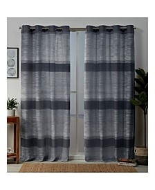 "Exclusive Home Kadomo Striped Grommet Top 54"" X 96"" Curtain Panel Pair"