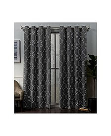 "Belmont Embroidered Woven Blackout Grommet Top 52"" X 84"" Curtain Panel Pair"