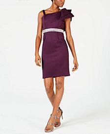 Nightway One-Shoulder Rhinestone-Trim Dress