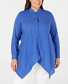 Plus Size Button-Front Handkerchief-Hem Cotton Top