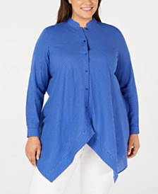 Anne Klein Plus Size Button-Front Handkerchief-Hem Cotton Top