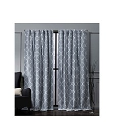 "Nicole Miller Treillage Woven Blackout Hidden Tab Top 52"" X 96"" Curtain Panel Pair"