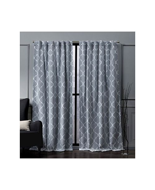 "Exclusive Home Nicole Miller Treillage Woven Blackout Hidden Tab Top 52"" X 96"" Curtain Panel Pair"