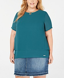 Plus Size Split-Back Layered Top