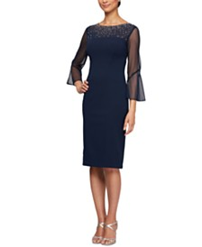 Alex Evenings Illusion-Sleeve Dress