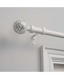 """Exclusive Home Mosaic 1"""" Curtain Rod and Coordinating Finial Set, Adjustable 66""""-120"""""""