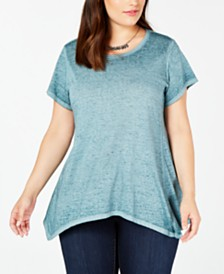 Style & Co Plus Size Cotton Handkerchief-Hem Top, Created for Macy's