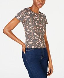 Juniors' Waffle-Knit Baby T-Shirt