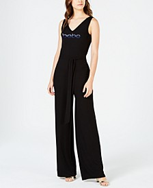 Juniors' Multi-Strap Logo Jumpsuit