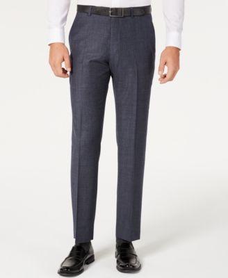 Men's Modern-Fit THFlex Stretch Blue Plaid Suit Separate Pants
