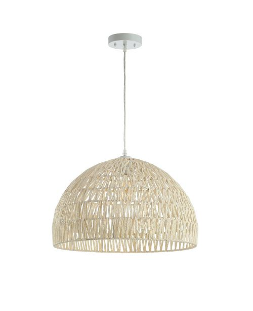 "JONATHAN Y Campana 20"" Woven Rattan Dome LED Pendant"