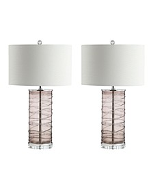 """Cole 27.5"""" Modern Fused Glass Cylinder LED Table Lamp - Set of 2"""