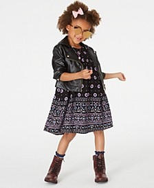 Little Girls Faux-Leather Moto Jacket & Printed Dress Set