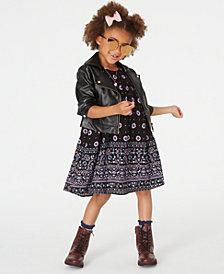 Blueberi Boulevard Toddler Girls Faux-Leather Moto Jacket & Printed Dress Set