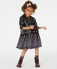 Blueberi Boulevard Little Girls Faux-Leather Moto Jacket & Printed Dress Set