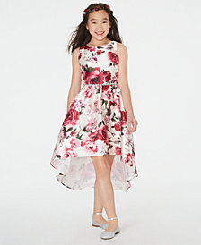 Rare Editions Big Girls Floral-Print Mikado High-Low Dress